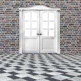 古典设计的白色二重生叶的门在老砖墙的 库存图片