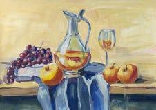 古典静物画用果子和酒 库存例证