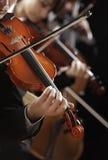 古典音乐。 音乐会的小提琴手 免版税库存图片
