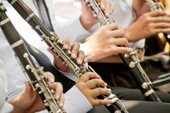 古典音乐家单簧管使用 库存照片