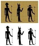 古埃及剪影的神 免版税库存图片