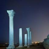 古城专栏废墟在夜空下 图库摄影