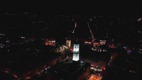 古城的全景 乌克兰利沃夫州市,城镇厅 老大厦屋顶  鸟瞰图 海湾桥梁加州弗朗西斯科晚上圣时间 冬天 影视素材
