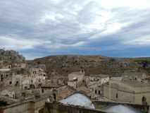 古城马泰拉,巴斯利卡塔,意大利的看法 免版税库存照片