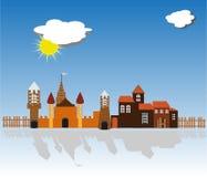 古城,中世纪,堡垒,晴天,太阳,云彩 向量例证