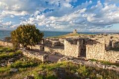 古城Chersonesos的废墟 图库摄影