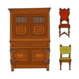 古家具设置了-在白色和椅子隔绝的壁橱 免版税图库摄影