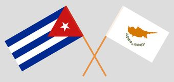 古巴和塞浦路斯 古巴人和居普良旗子 E r ?? 库存例证