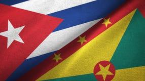 古巴和格林纳达两旗子纺织品布料,织品纹理 向量例证