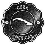 古巴地图葡萄酒邮票 向量例证