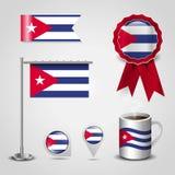 古巴地图Pin、钢波兰人和丝带徽章横幅的国旗地方 向量例证
