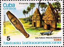 古巴文化示例邮费显示印花税 免版税图库摄影