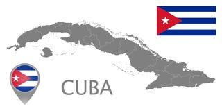 古巴旗子、地图尖和地图与管理部门 皇族释放例证