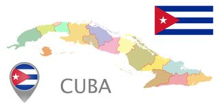 古巴旗子、地图尖和地图与管理部门 向量例证