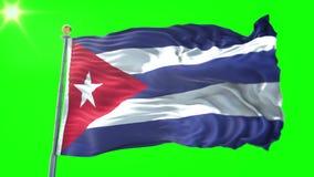 古巴旗子无缝的使成环的3D翻译录影 美好纺织品布料织品圈挥动 影视素材