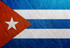 古巴旗子金属葡萄酒,减速火箭,被抓 免版税库存照片