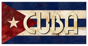 古巴旗子难看的东西古巴字法金属老土气Vingage 免版税库存照片