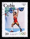 古巴显示举重, 23th夏天奥运会,洛杉矶1984年,美国,大约1983年 免版税库存图片