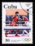 古巴显示拳击, 23th夏天奥运会,洛杉矶1984年,美国,大约1983年 库存图片