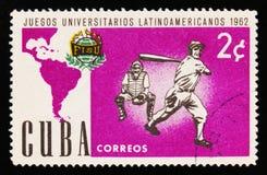 古巴显示棒球,拉丁美洲人美国人世界大学生运动会比赛,大约1962年 免版税图库摄影
