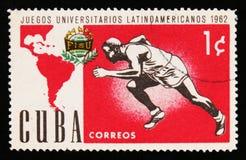 古巴显示竞技,拉丁美洲人美国人世界大学生运动会比赛,大约1962年 库存照片