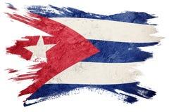 古巴标志grunge 与难看的东西纹理的古巴旗子 画笔冲程 图库摄影