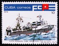 古巴渔拖网渔船,渔船队serie,大约1978年 图库摄影