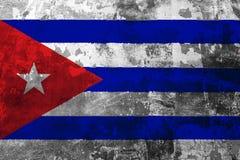 古巴的国旗老墙壁的背景的 向量例证
