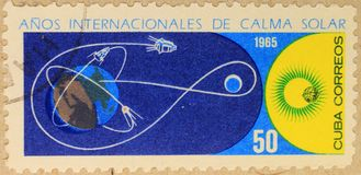 古巴的邮政邮票,致力安静的太阳的年 免版税库存照片