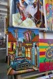 古巴艺术家美好的五颜六色的绘画  图库摄影