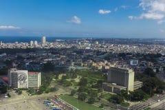 古巴,哈瓦那的历史的首都的鸟瞰图,通过寄生虫 免版税库存照片