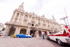 古巴,哈瓦那- 2017年5月5日:哈瓦那盛大剧院的大厦 复制文本的空间 图库摄影