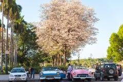 古巴,哈瓦那- 2017年5月5日:在停车场的美国多彩多姿的减速火箭的汽车 复制文本的空间 免版税库存照片
