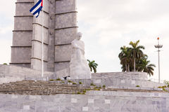 古巴,哈瓦那- 2017年5月5日:纪念碑的看法对何塞马蒂的 复制文本的空间 库存照片