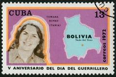 古巴- 1972年:展示Haydee塔玛拉Bunke Bider塔尼阿游击队员1937-1967,玻利维亚, Vado del Yeso, 1967年10月8的地图日 库存图片