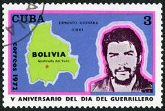 古巴- 1972年:显示埃内斯托格瓦拉de la Serna切・格瓦拉司令员1928-1967,玻利维亚, Quebrada del Yuro的地图 免版税库存图片