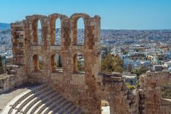 古希腊上城的废墟 图库摄影