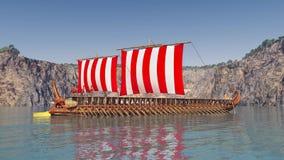 古希腊军舰 免版税图库摄影