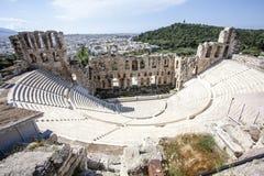古希腊剧院Herodes埃迪克Odeon的内部在雅典,希腊 库存图片