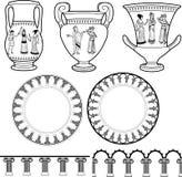 古希腊器物和柱子装饰品 免版税库存图片