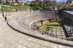 古希腊圆形剧场在奥赫里德 图库摄影