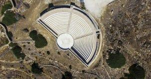古希腊圆形露天剧场在Ios海岛,希腊 图库摄影