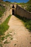 古希腊坟茔废墟在伯罗奔尼撒的,希腊迈锡尼 库存图片