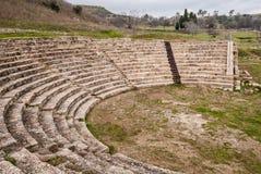 古希腊市的剧院Morgantina,在西西里岛 免版税图库摄影