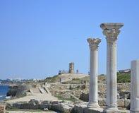 古希腊市的古董废墟Chersonese 免版税库存照片