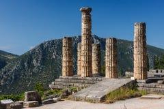 古希腊市的废墟特尔斐(Delfi),希腊 免版税图库摄影