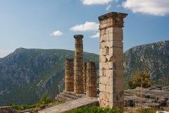 古希腊市的废墟特尔斐(Delfi),希腊 免版税库存图片