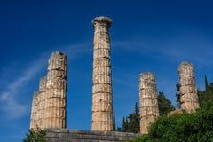 古希腊市的废墟特尔斐(Delfi) 库存图片