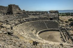 古希腊市的雅典娜寺庙Priene, T 库存照片