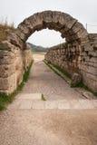 古希腊废墟在古老Olimp考古学地方  免版税库存图片